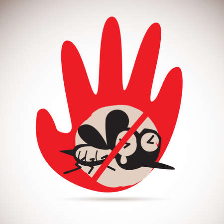 Mosquito with hand sign. Anti mosquito concept vector illustration. Vectores