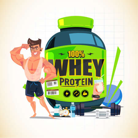 Strong man showing his arm muscle in front of Big whey protein container with gym equipment - vector illustration