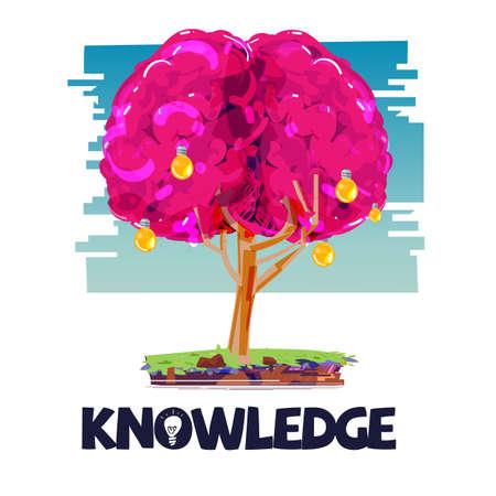 Brain tree with lightbulb as fruit. intelligence idea concept - vector illustration