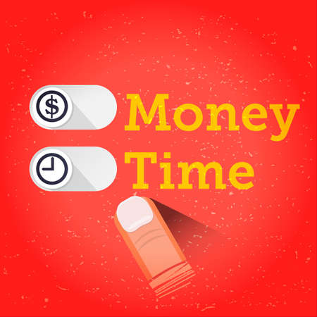Slide button for Times or Money. interface. life balance concept - vector illustration