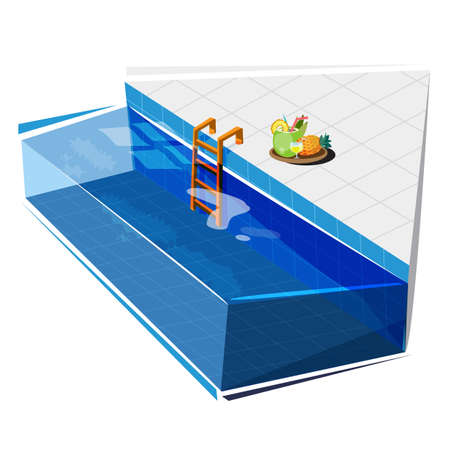 Swimming pool with coconut and pineapple juice, relax concept vector illustration. Çizim