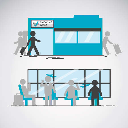 Smoking area in airport vector illustration.