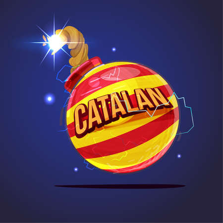 Bomb with Catalan flag. crisis concept - vector illustration Vectores