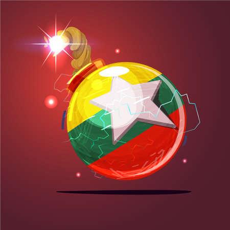 Bomb with Myanmar flag. internal conflict in Myanmar  concept - vector illustration Иллюстрация