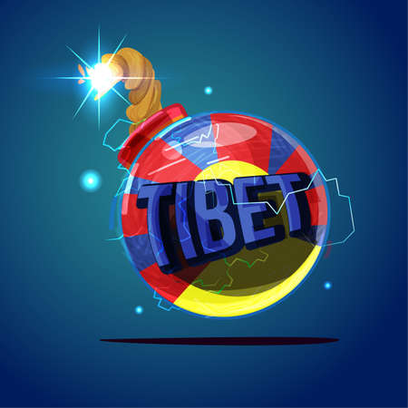 Tibet flag as bomb. tibet crisis - vector illustration