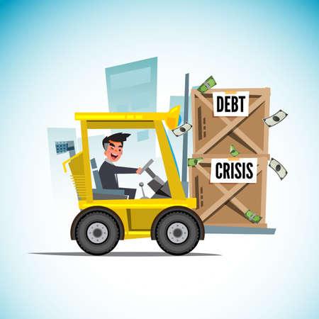 Forklift car lifting box of debt money - vector illustration Stock Illustratie