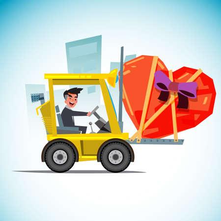 Forklift with heart - vector illustration flat design Illustration