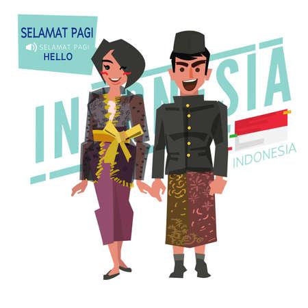 伝統的な衣装を着たインドネシアのカップル。インドネシア語で「こんにちは」と言う - ベクトルイラスト