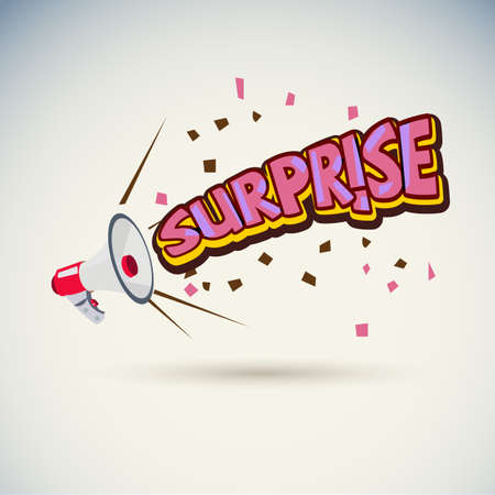 megaphone with surprise text - vector illustration Stock Vector - 99960981