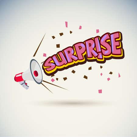 megaphone with surprise text - vector illustration