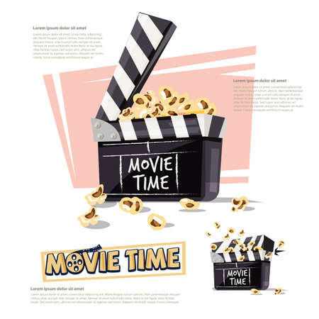 Movie clapper with popcorn. movie time concept - vector illustration