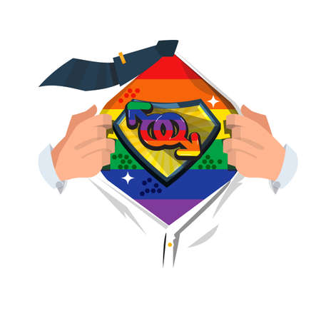 man open shirt to show Gay symbol. homosexual - vector illustration