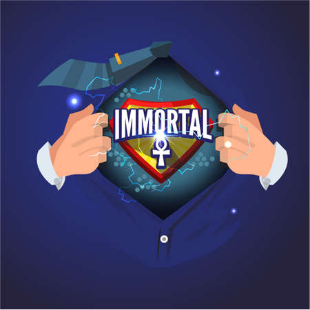 man open shirt to show immortal typographic. immortal concept - vector illustration Illustration