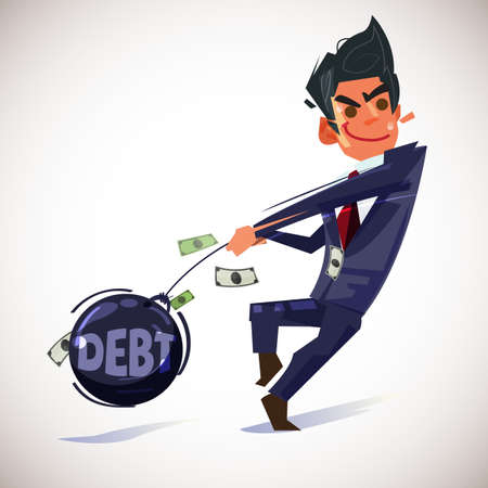 businessman throwing hammer of debt. money as hammer throw. debt relief concept - vector illustration