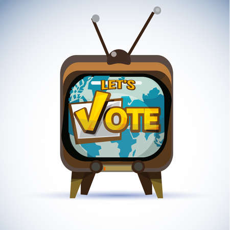 Television with Vote typographic. vote or popularity concept - vector illustraion