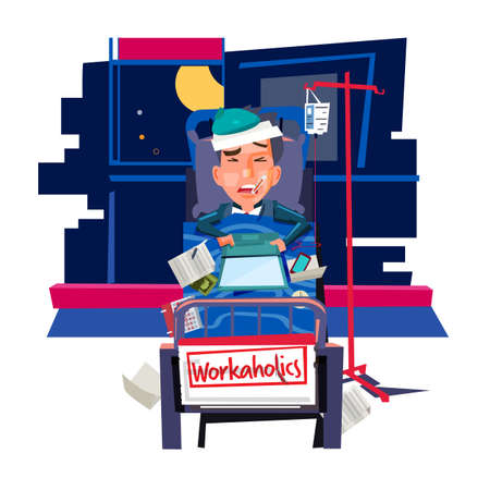 workholic concept. sick businessman  working on Patients bed with office equipments - vector illustration Illustration