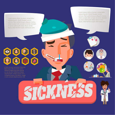 sickness businessman with healthy graphic elements. infographic for work and life balance Stock Illustratie