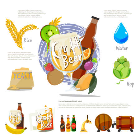Craft beer with ingresient. infographic of How to making beee - vector illustration Illustration