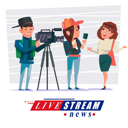 cameraman with journalist interview some people to reporting news. live broadcasting,, or live stream news concept - vector illustration