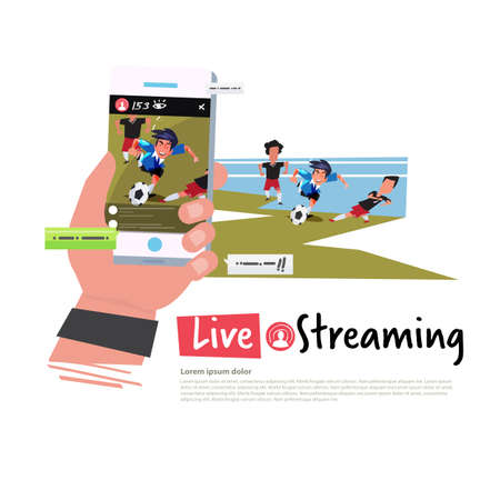 Hand holding smartphone and take a video to live straming for soccer competitions - vector illustration
