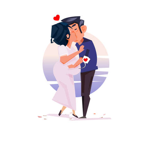 Happy pregnant woman with her husband - vector illustration