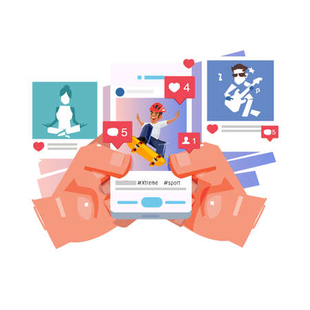 hand holding smartphone posting a photo on social network with reaction icon. social network addict concept - vector illustration