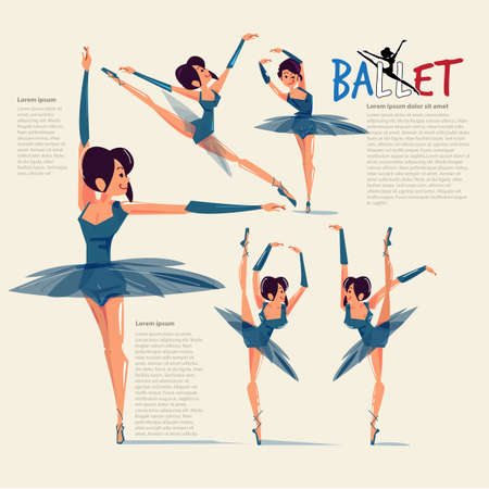 Ballet dance in various action with typographic for header - vector illustration Illustration