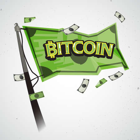 flag of bitcoin money - vector illustration
