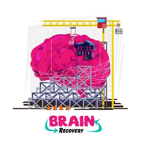 Recuperación o curación de su cerebro o concepto. Cerebro humano con grúa de construcción en el área de construcción. vienen con logotipo o tipográfico para el diseño del encabezado - ilustración vectorial