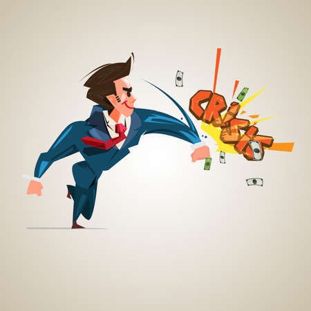 businessman hitting Text Crisis business or financial management concept - vector illustration Çizim