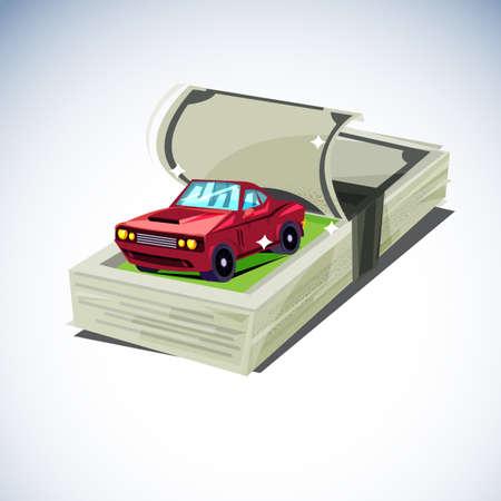 stack of moneys with smart car inside. Car  Expense reminder  - vector illustration