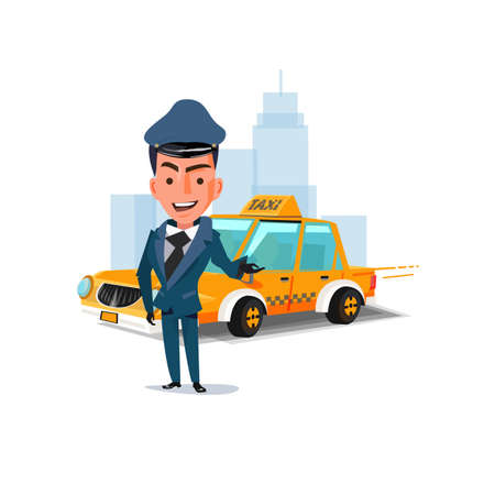 chauffeur with his taxi car. character design. taxi service concept - vector illustration