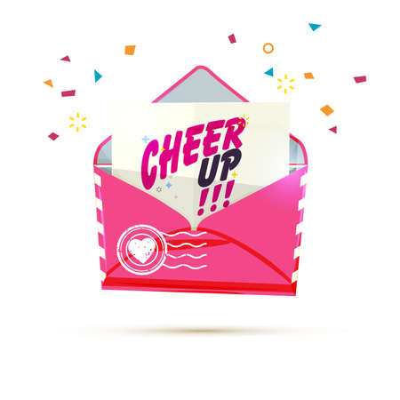 Envelope with cheer up text vector illustration  イラスト・ベクター素材