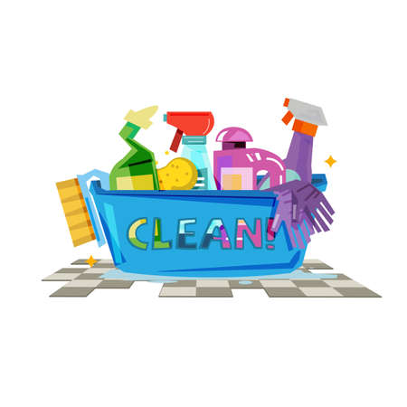 Cleaning products in plastic basket with typographic design vector illustration Stock Illustratie