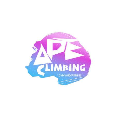 Climbing like an ape concept logo vector illustration