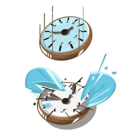 Clock Falling down and Broken vector illustration Illustration