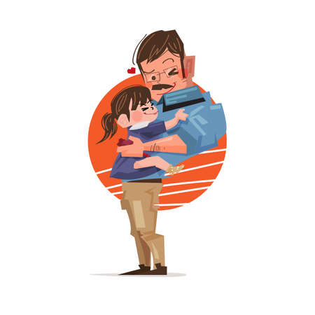 Father and daughter hugging together vector illustration Ilustrace