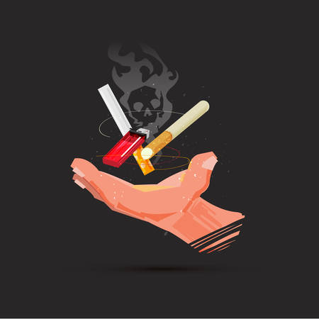 Hand with cigarette and lighter vector illustration 向量圖像