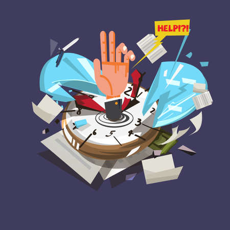 Hand of businessman sinking into the broken watch or time with document and office tools vector illustration