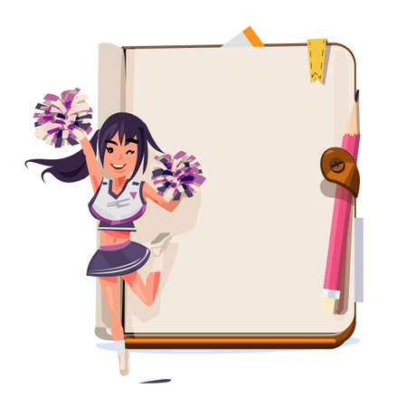 Cheerleader with notebook vector illustration Çizim