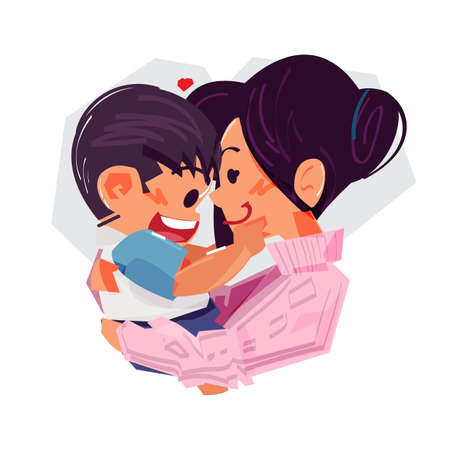 Mother is holding her little baby. character design. love of mother and baby concept - vector illustration