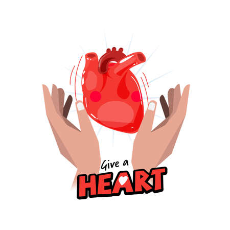 Hand with Human heart. hope and organ donation concept. logotype for header design - vector illustration