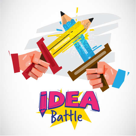 Two hand using pencil as sword fighting. idea battle or creativity competitions concept - vector illustration