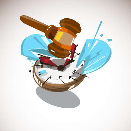 Judge hammer hitting on watch. time to judge concept - vector illustration