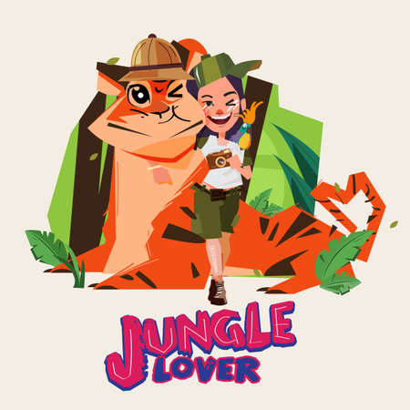 Adventure girl huge a big tiger. character design. jungle lover. Naturalist and explorer girl - vector illustration Illustration