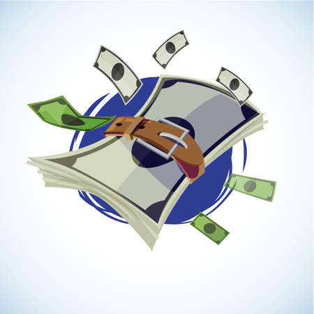 money with belt. tight budget money concept. - vector illustration