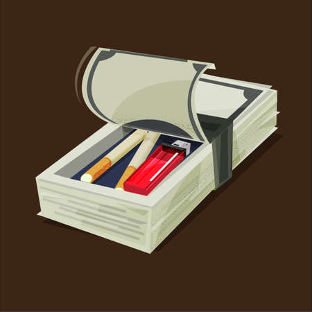 Money stack with Cigarette and lighter inside. Smoking cost - vector illustration Illustration