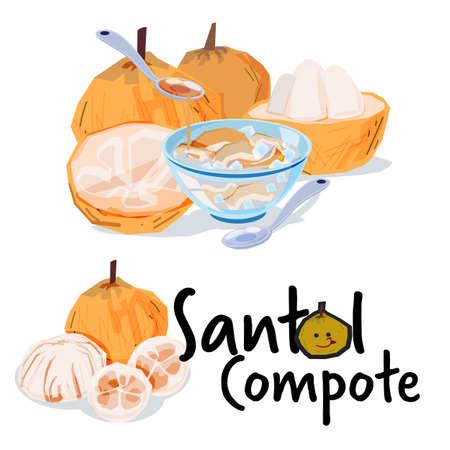 Santol Compote, Santol fruit. tropical fruit concept - vector illustration