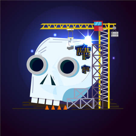 Crane repair or fixing human skull in construction zone. Repair your head concept- vector illustration
