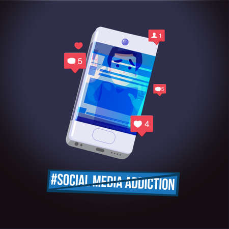 Man trap in smartphone. social network addict concept. logotype - vector illustration 일러스트